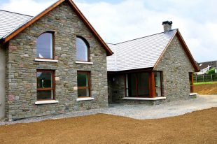 Portlaoise Sandstone With Armagh Pink & Grey Limestone Finished With Grey Granite Window Cills
