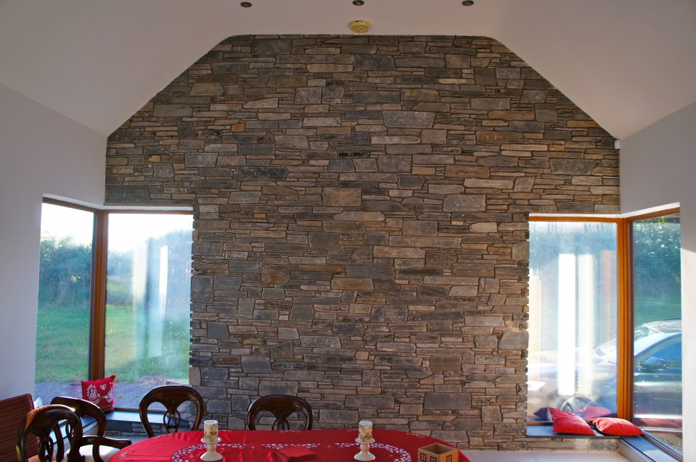 Internal Feature Wall Built From 50 Brown And Blue Donegal Slate