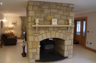 Double Sided Fireplace 75% Donegal, 20% Omagh And 5% Blue Centre Sandstone