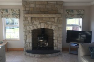 Donegal Sandstone Fireplace With Rock Faced Sandstone Mantlepiece And Corbels