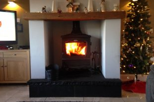 Black Limestone 60mm Hearth With 22mm Thick Black Limestone Risers