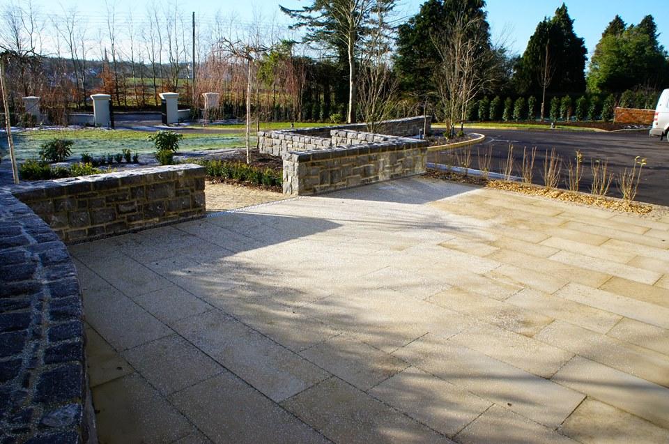 Brown granite paving