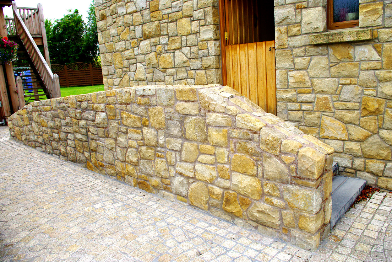 Brown Granite Cobbles, Donegal Sandstone Disabled access ramp
