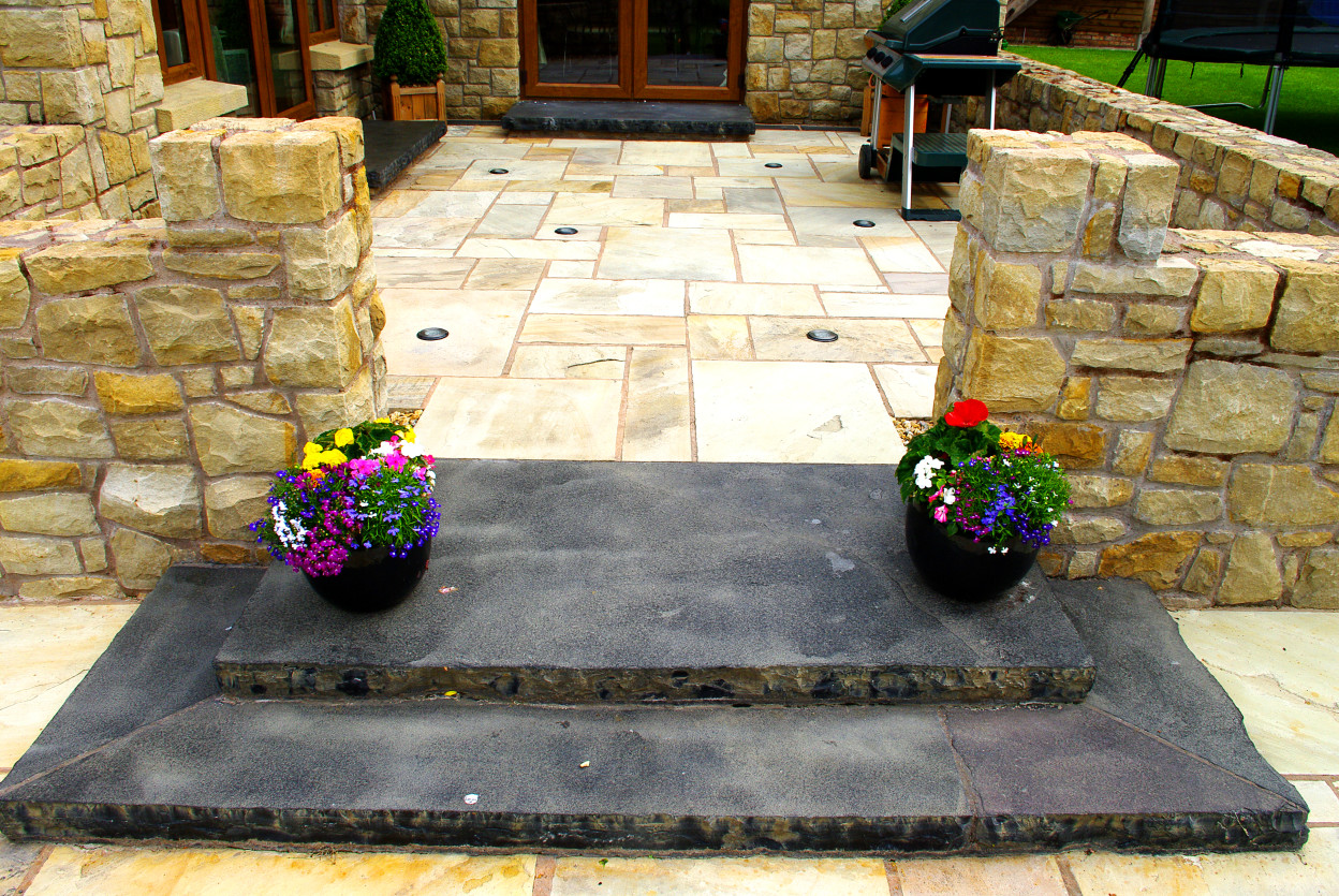 Tinted Mint Paving, Limestone Hearth Cut into steps