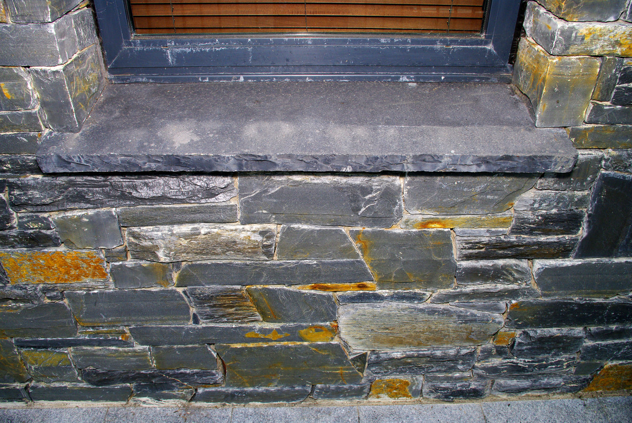 Donegal Slate Stone with Limestone Hearths Cut as Window Cills