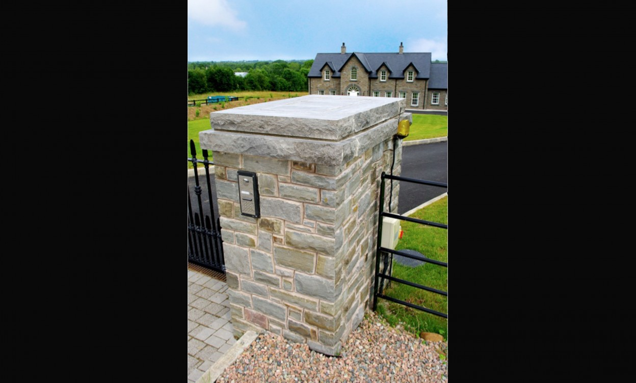Pillar built using Portlaoise Sandstone with 5% Armagh Pink and Grey Limestone pillars. Flush Mounted Keypad