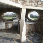 Hand Carved Donegal Sandstone Twisted Post. Donegal Sandstone Oval Window Surround