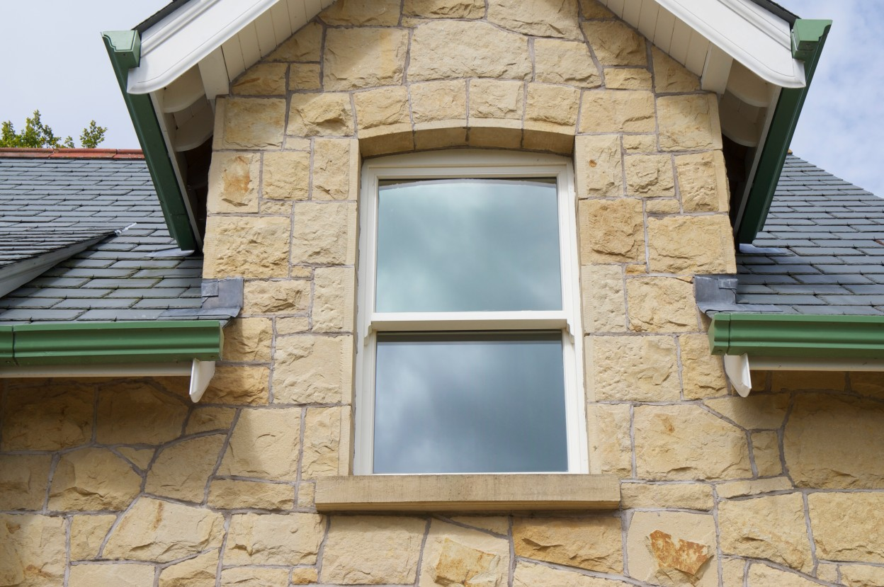 Carland Sandstone with chiseled draught margin to window reveals