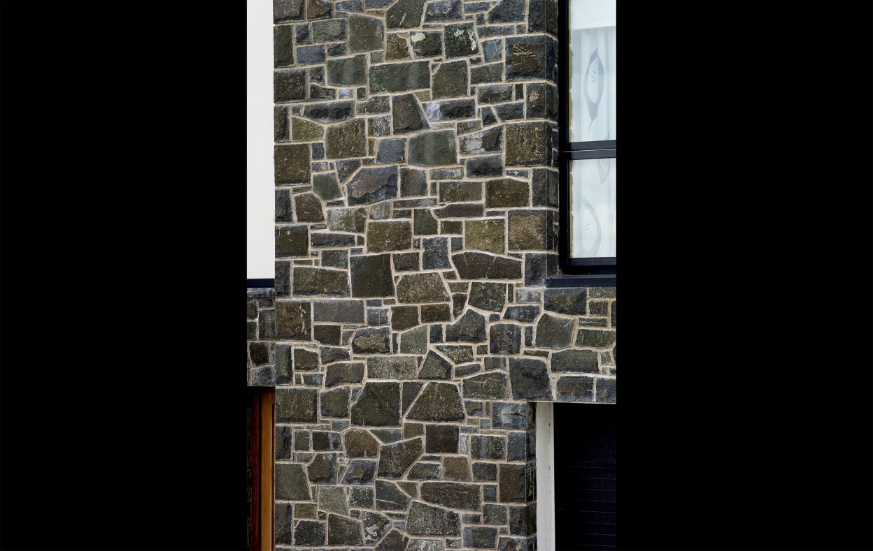 Natural faced basalt built across keystone lintels