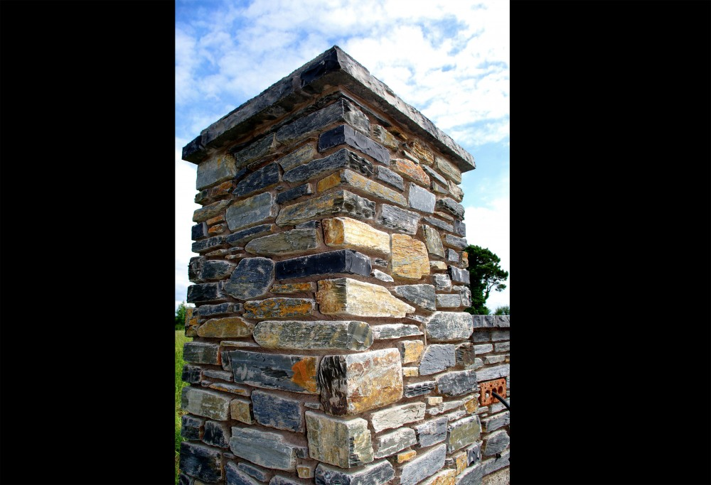 Donegal slate entrance pillar with double layer pillar coping