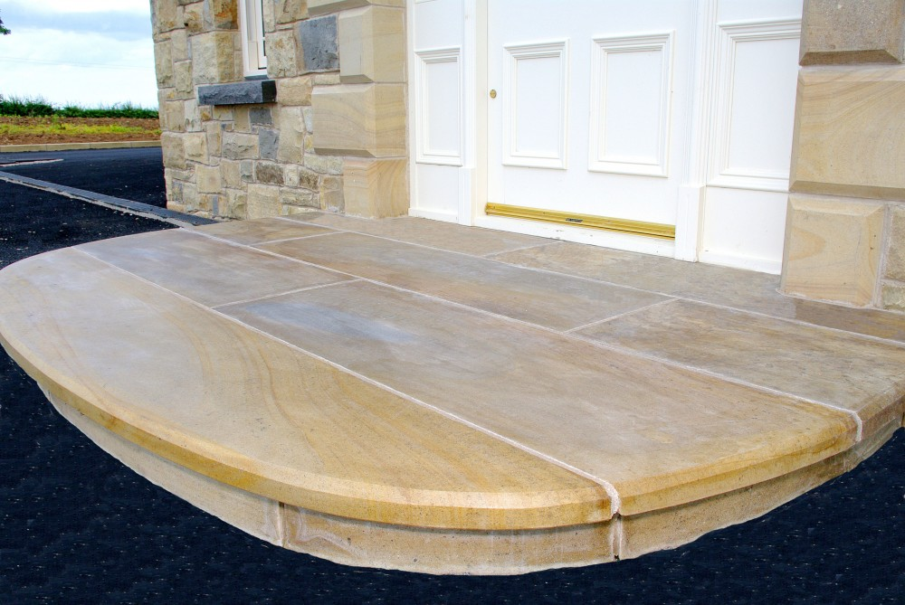 Step built with Donegal sandstone riser and treads with 10mm chamfer