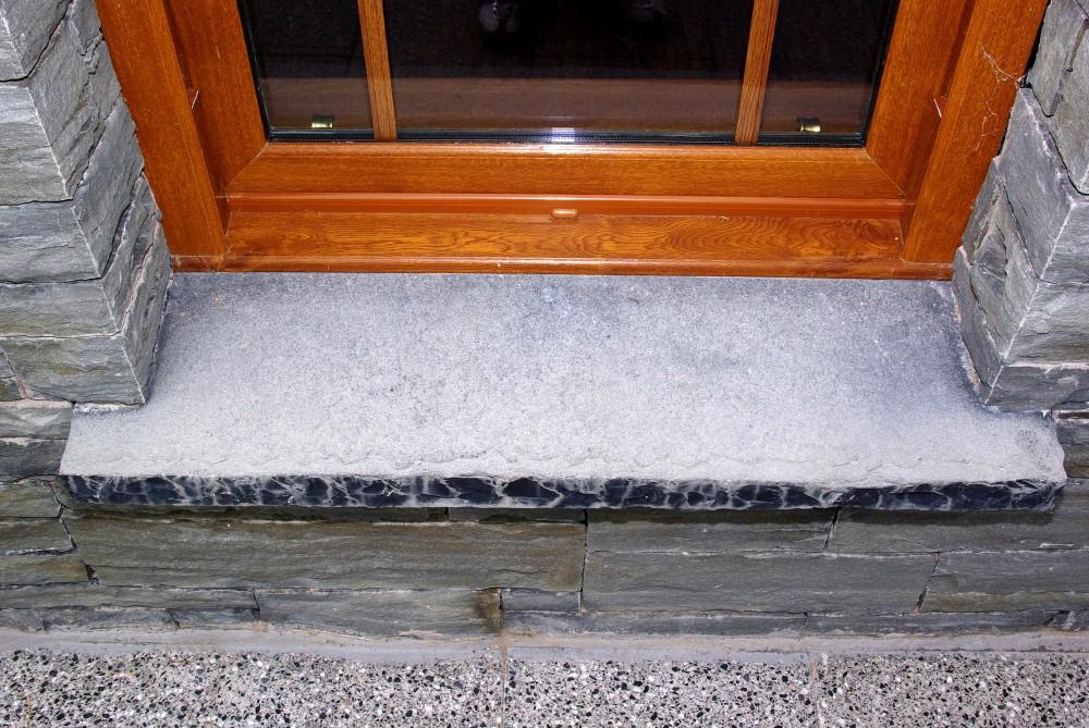 60mm Indian limestone hearths cut as window cills