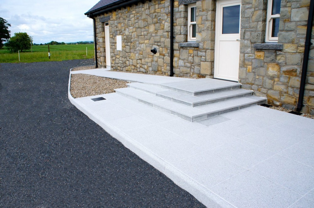 600 x 600 x 30mm Grey Granite paving used to form steps and disabled access ramp
