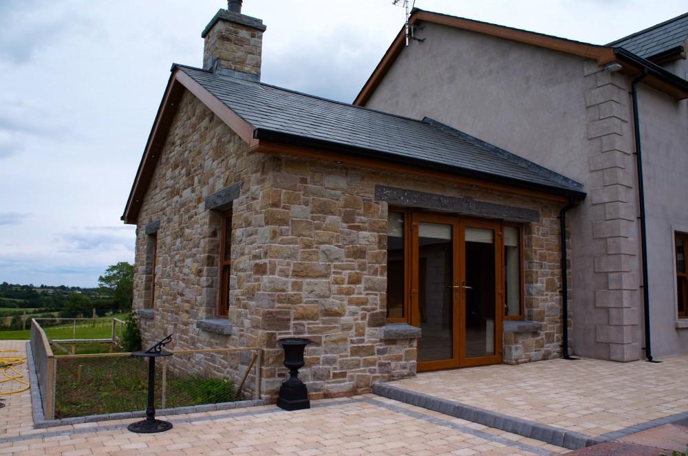 Rock faced limestone lintel