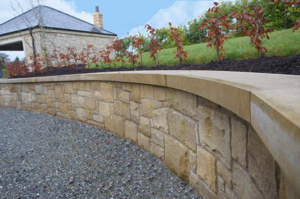 Donegal sandstone sawn and polished wall copings