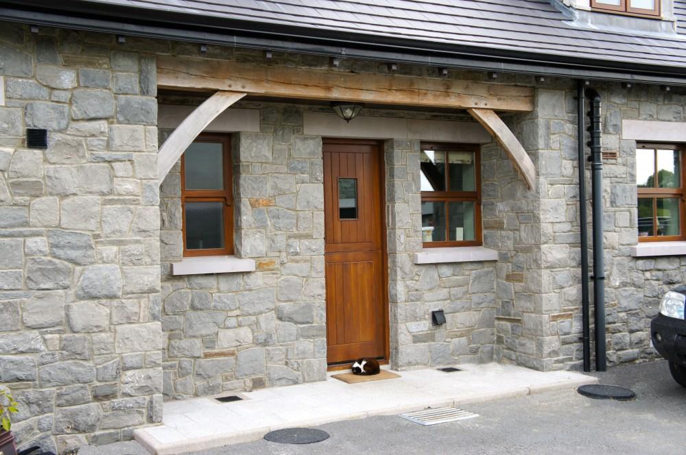 Armagh pink limestone sandblasted window cills