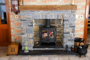 Donegal Slate With Split Level Black Limestone Hearth And Free Standing Arch
