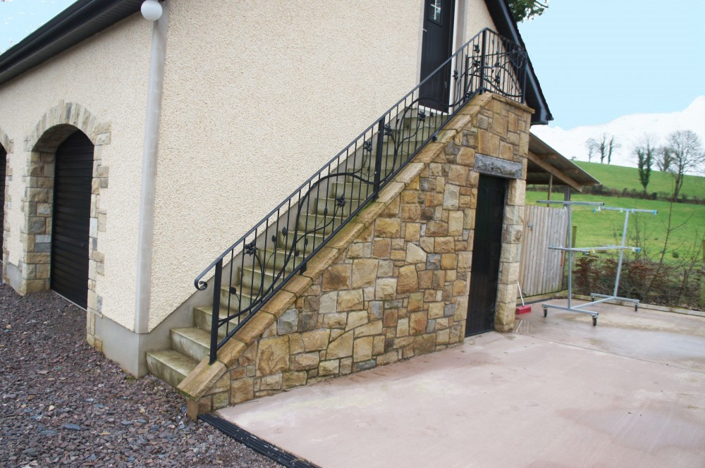 External Steps built from mix of 60% Donegal, 20% Omagh and 10% Blue Centred sandstone