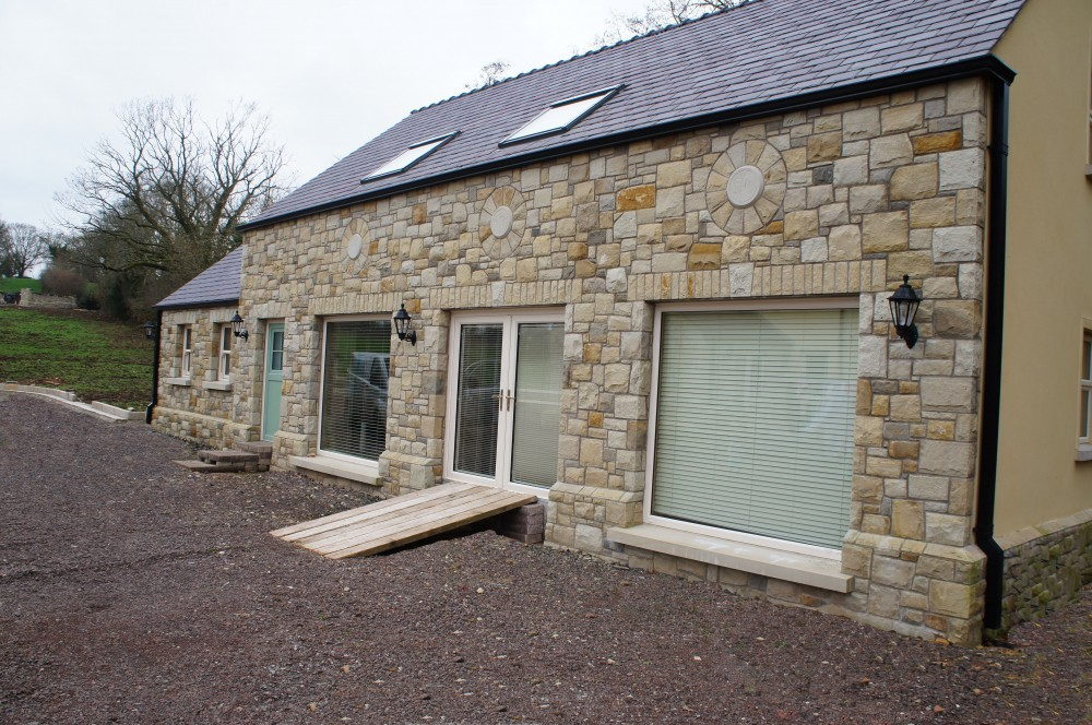 Mix of Donegal, Omagh and blue centred sandstone