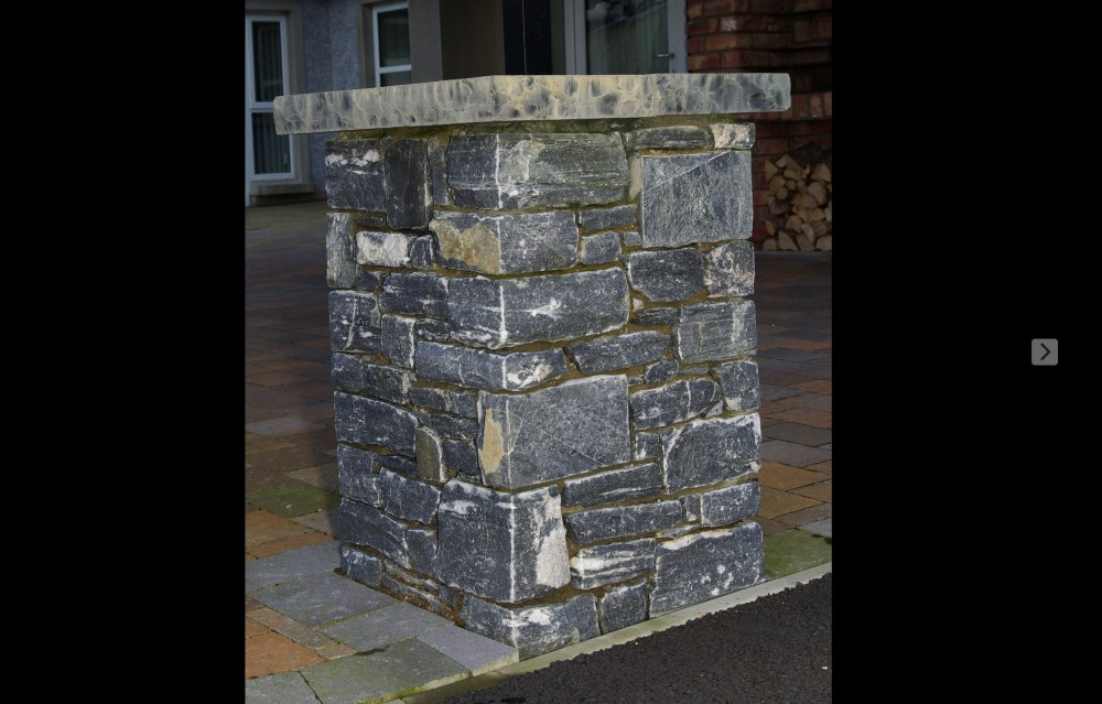 Donegal shale pillar with rock faced limestone pier cap