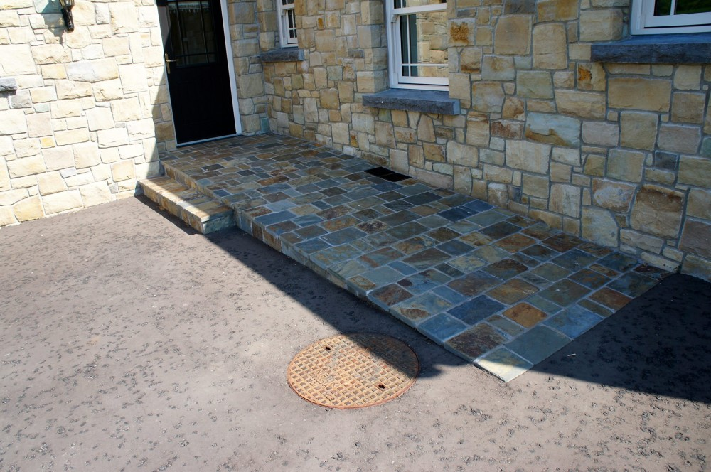 Olde English cobbles used to form disabled access ramp