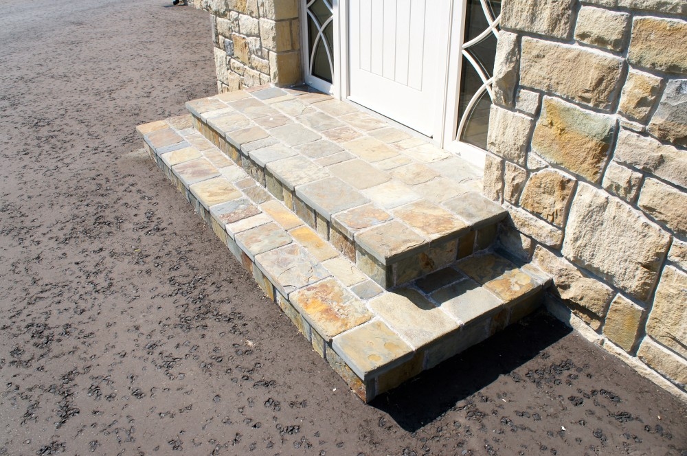 Olde English cobbles used to form steps