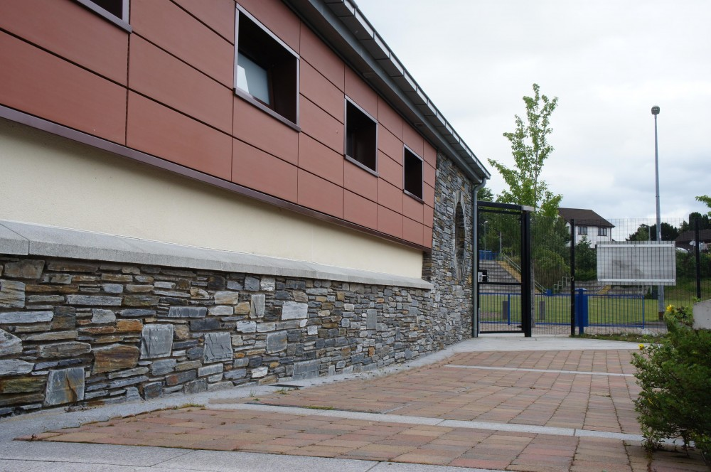 Donegal Slate plinth with reconstituted stone capping