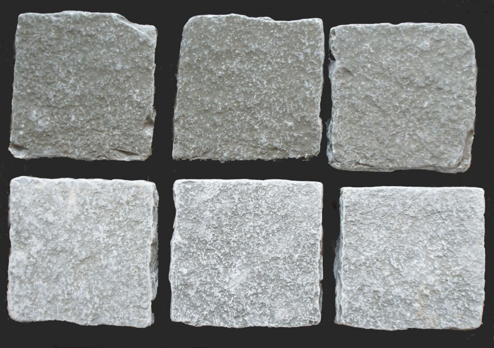 Tumbled Grey Limestone Cobbles (Wet on top, dry on bottom row)