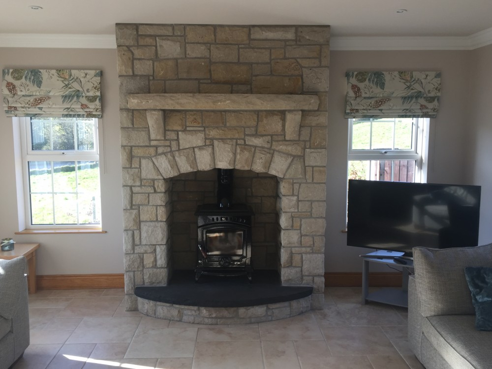 Donegal Sandstone Fireplace With Rock Faced Sandstone