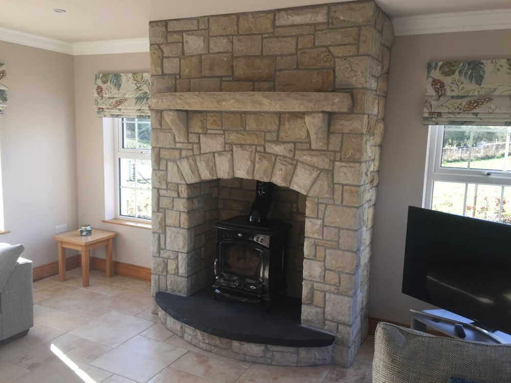 Fireplace built in Donegal Sandstone