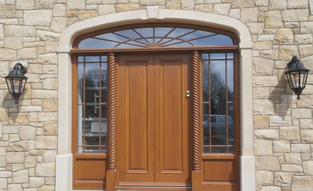 Donegal sandstone surround on front door