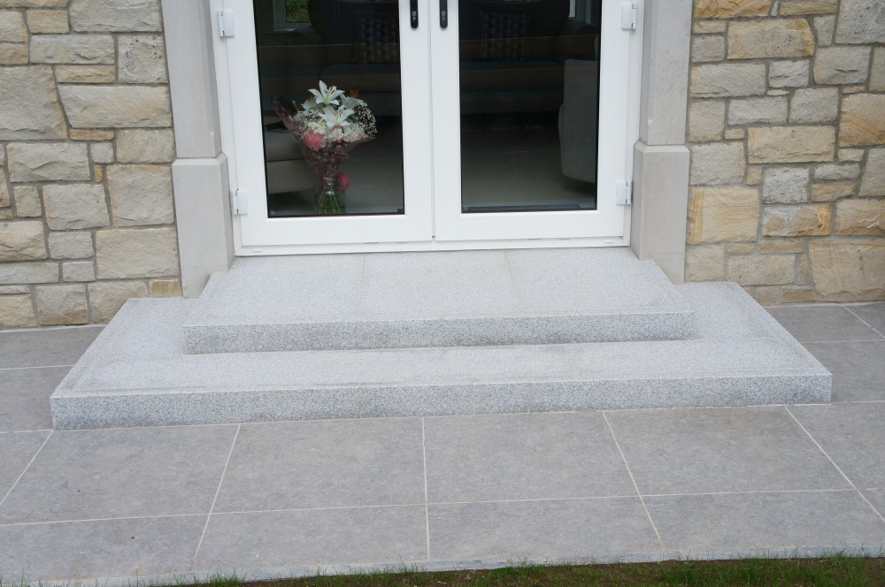 Steps Formed Using Silver Granite Flamed Kerbs With Silver Granite Paving Treads