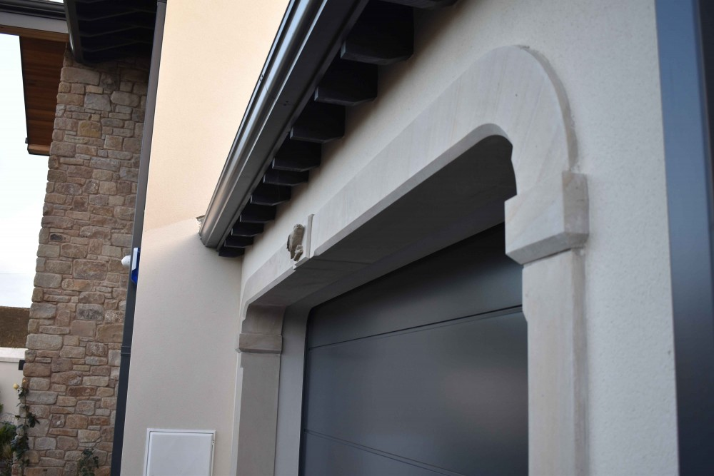 Donegal sandstone surround on garage