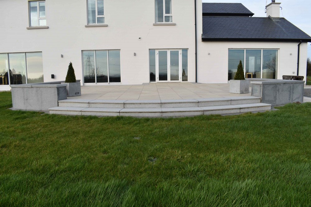 Mint Cream Porcelain Paving with blue granite steps
