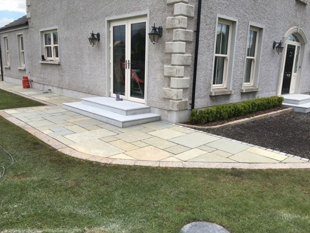 Yellow Limestone Paving with Silver Granite Steps